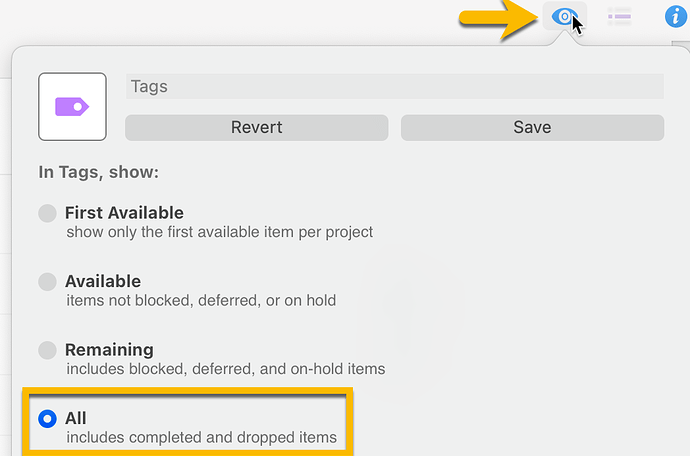 OmniFocus for Mac - View All Tags