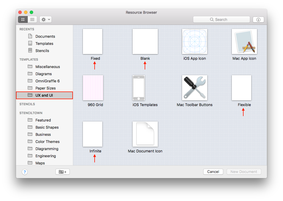 where is the new blank document option omnigraffle for mac the