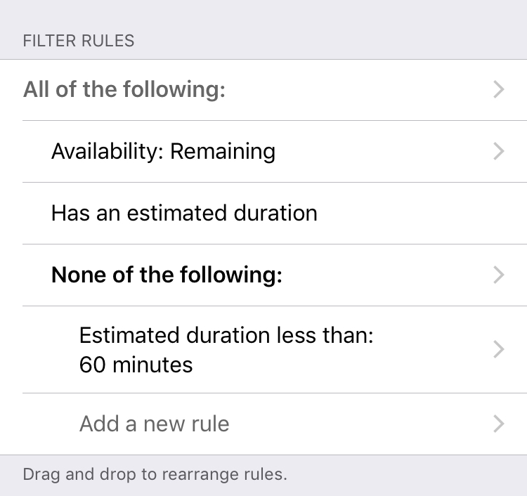 Perspective screenshot: Uses None of group to exclude short duration tasks