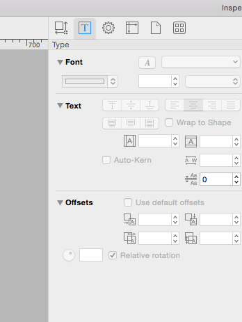 Right hand side tool bar where I can edit text/image sizing
